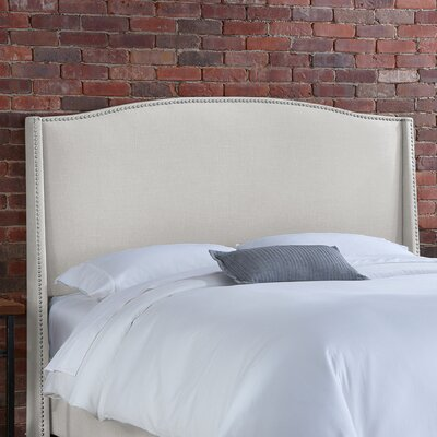 Doleman Solid Wood Upholstered Wingback Headboard Size: Queen, Upholstery: Talc
