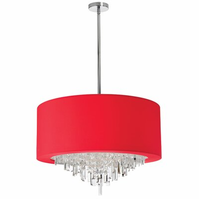 Falmouth 8-Light Drum Chandelier Shade Color: Red