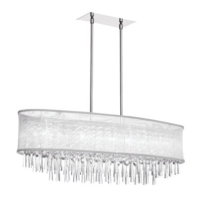 Deverel 8-Light Metal Kitchen Island Pendant Shade Color: White Laminated Organza