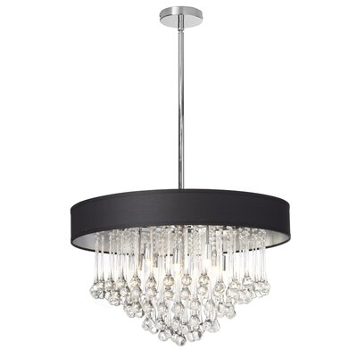 Durand 8-Light 40W Drum Chandelier Shade Color: Black