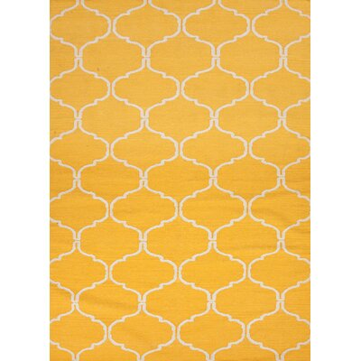Caresse Hand-Woven Yellow Area Rug Rug Size: 9 x 12
