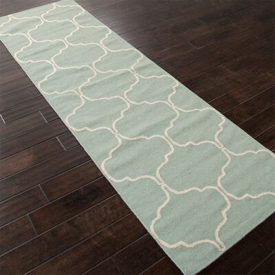 Caresse Hand-Woven Green Area Rug Rug Size: Runner 26 x 8