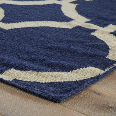 Hayne Hand-Woven Blue Area Rug Rug Size: 36 x 56