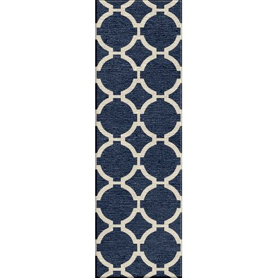Blondene Hand-Woven Blue Area Rug Rug Size: Runner 26 x 8