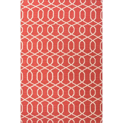 Ginger Geometric Red/Ivory Rug Rug Size: Rectangle 8 x 10
