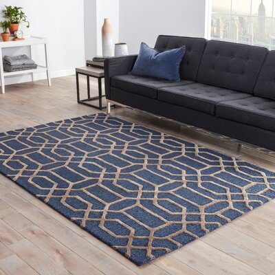 Avery Dark Blue/Taupe Geometric Area Rug Rug Size: 36 x 56