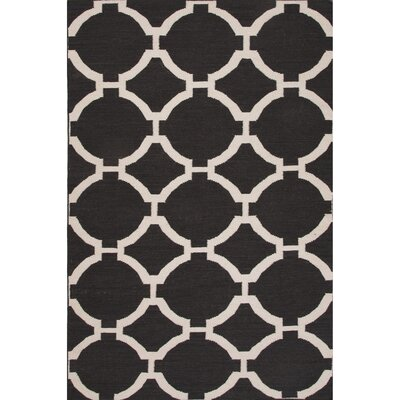 Rickman Wool Flat Weave Black/Ivory Area Rug Rug Size: 2 x 3