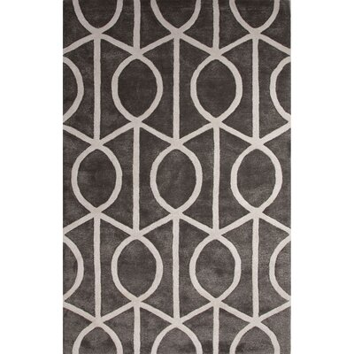 Blondell Wool and Art Silk Hand Tufted Pewter/White Area Rug Rug Size: Rectangle 36 x 56