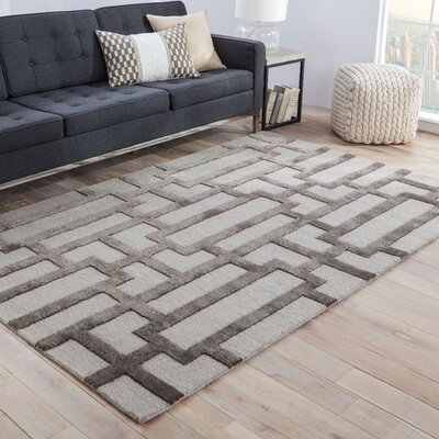 Avery Contemporary Hand-Tufted Gray Area Rug Rug Size: 5 x 8