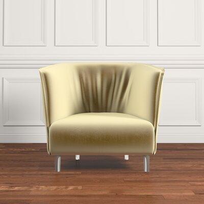 Baver Velvet Curved Back Accent Chair Upholstery: Gold