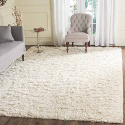 Zulte Hand-Knotted Ivory Area Rug Rug Size: Rectangle 9 x 12