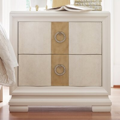Rogers 2 Drawer Nightstand Finish: Pearl/Gold