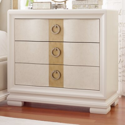 Recinos 3 Drawer Nightstand Finish: Pearl and Gold