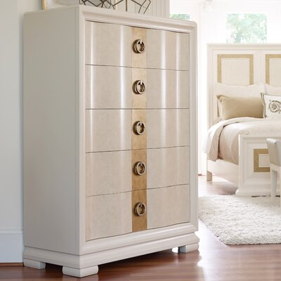 Rogers 5 Drawer Chest Color: Pearl/Gold