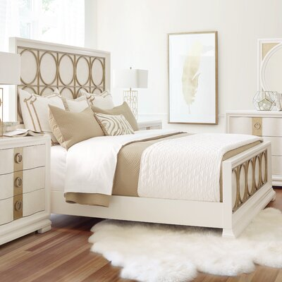 Rogers Panel Bed Size: California King, Finish: Pearl and Gold Tone Accents
