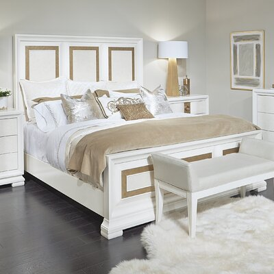 Rogers Contemporary Panel Bed Size: Queen, Finish: Pearl and Gold Tone Accents