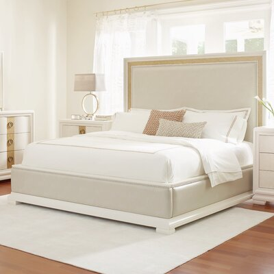 Rogers Upholstered Panel Bed Size: Queen, Finish: Pearl and Gold Tone Accents