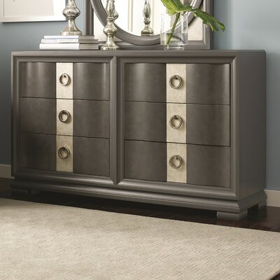 Rogers 6 Drawer Double Dresser with Mirror