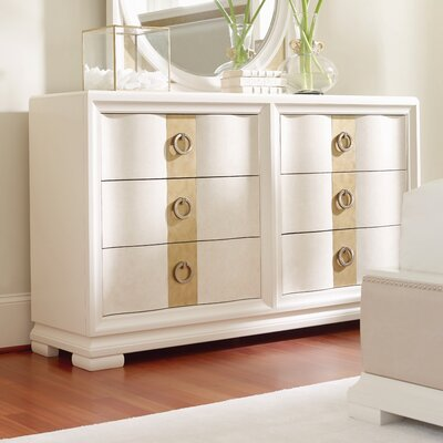 Recinos 6 Drawer Standard Dresser Finish: Pearl/Gold Tone Accents