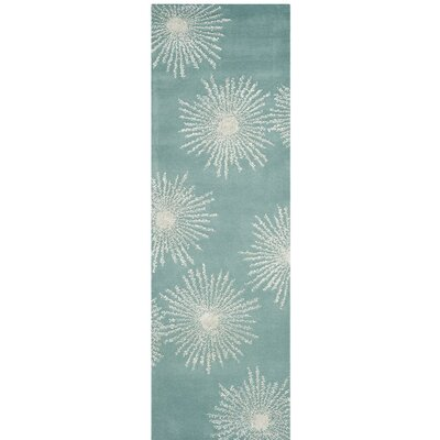 Germain Hand-Tufted Green Area Rug Rug Size: Runner 26 x 8