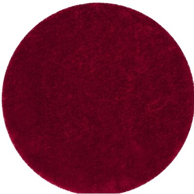 Shortt Shag Hand Tufted Red Area Rug Rug Size: Round 6