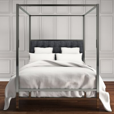 Holton Upholstered Canopy Bed Color: Dark Gray, Size: Queen