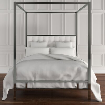 Beetham Upholstered Canopy Bed Upholstery: White, Size: Full