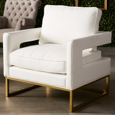 Aloisio Genuine Leather Upholstery Armchair Upholstery: White