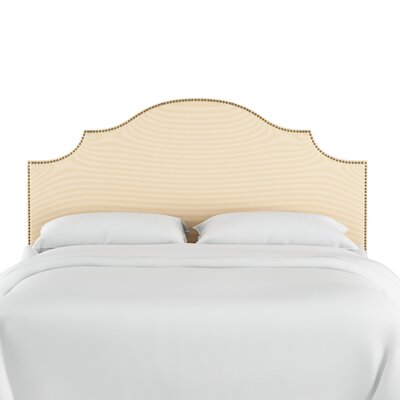 Rector Nail Button Notched Duck Upholstered Panel Headboard Color: Natural, Size: Twin