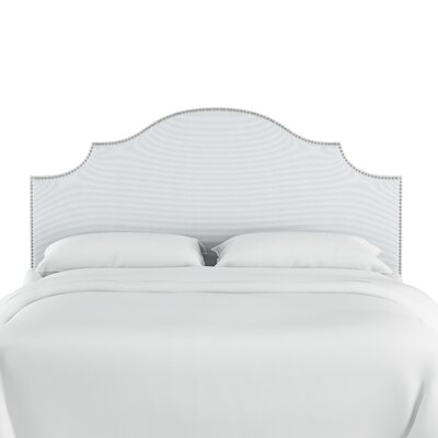 Rector Nail Button Notched Duck Upholstered Panel Headboard Color: White, Size: Queen