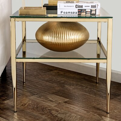 Genowefa Open Shelf End Table Color: Gold