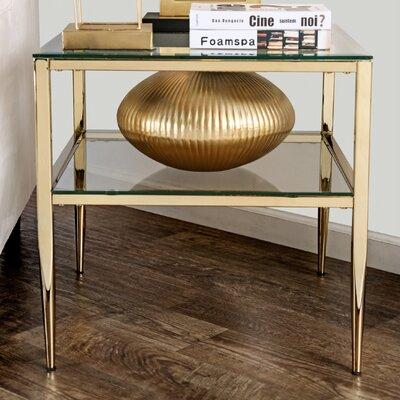 Rahil Open Shelf End Table Color: Gold