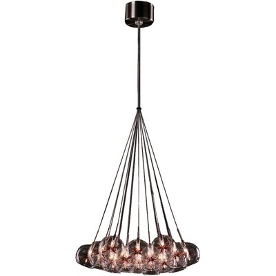 Darcie 19-Light Cluster Pendant Glass Color: Clear/Amber