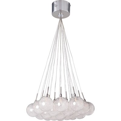 Attenborough 19-Light Cluster Pendant Glass Color: Threaded