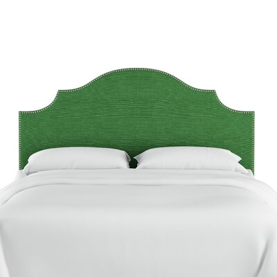 Redmont Nail Button Notched Linen Upholstered Panel Headboard Color: Kelly Green, Size: Twin