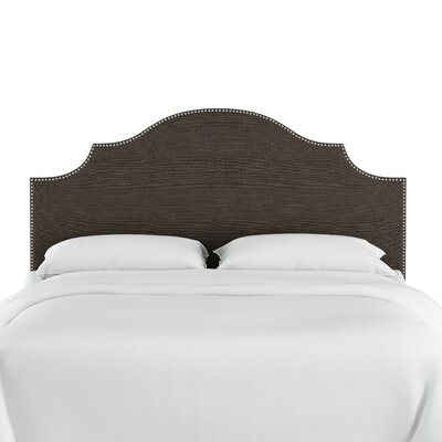 Huddleson Nail Button Notched Linen Upholstered Panel Headboard Color: Cindersmoke, Size: Twin