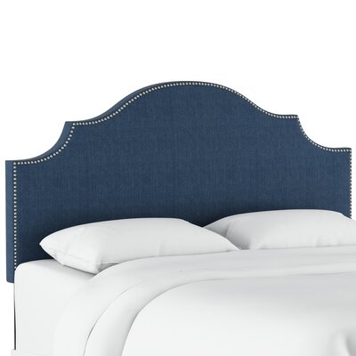 Eduard Nail Button Notched Upholstered Panel Headboard Color: Patriot Blueberry, Size: King