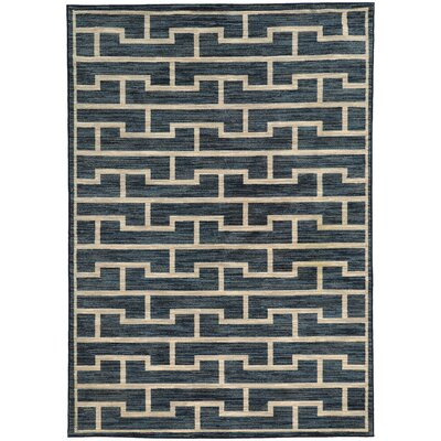 Abbas Geometric Blue/Beige Area Rug Rug Size: Rectangle 53 x 76