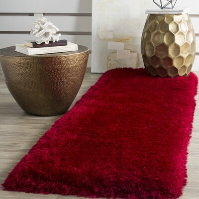 Bevan Shag Hand-Tufted Red Area Rug Rug Size: Square 6