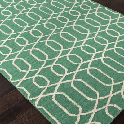 Ginger Hand-Woven Wool Green/Ivory Area Rug Rug Size: Rectangle 36 x 56