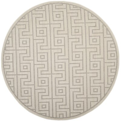 Apollina Light Gray/Cream Indoor/Outdoor Area Rug Rug Size: Round 67