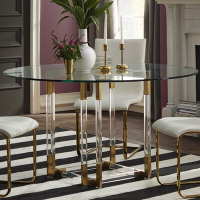 Ortega Dining Table Finish: Clear/Brass