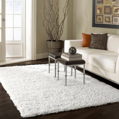 Welford White Shag Area Rug Rug Size: Rectangle 67 x 9