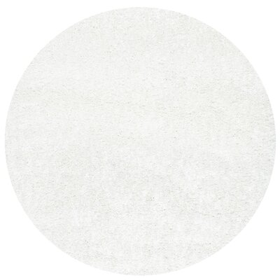 Welford White Shag Area Rug Rug Size: Round 53