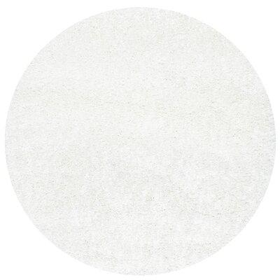Welford White Shag Area Rug Rug Size: Round 710