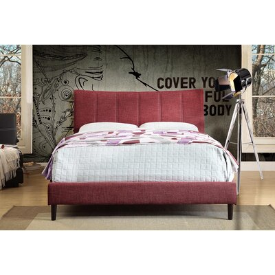 Euphemia Fabric Platform Bed Size: Double, Color: Red