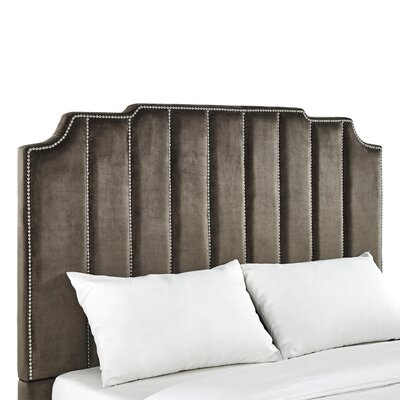 Elof Velvet Panel Headboard Upholstery: Brown, Size: King