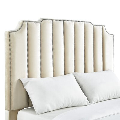 Ragan Velvet Panel Headboard Upholstery: Beige, Size: Queen