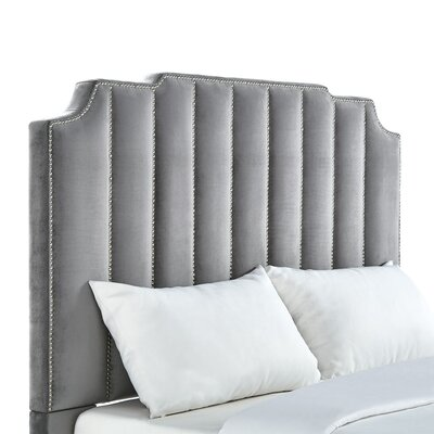 Elof Velvet Panel Headboard Upholstery: Grey, Size: Full