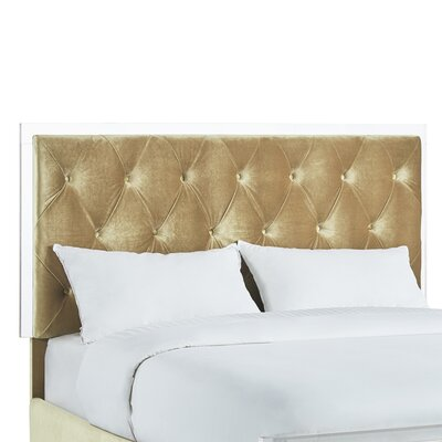 Harmen Button-Tufted Velvet Upholstered Panel Headboard Upholstery: Gold, Size: King